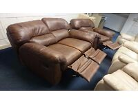 Brown leather recliner two seater (170 cm) and chair suite