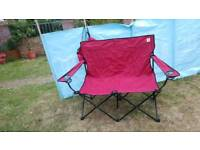 Double folding camping chair