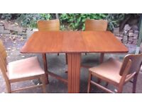 Small Solid Wood Drop Leaf Table & Four Solid Wood Chairs With Vinyl Seat Covers