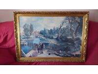 Large Print Framed Canal Scene Unsigned.