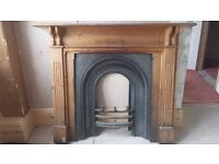 Cast iron fireplace insert and wooden fire surround - Victorian style
