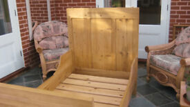 Antique solid pine cabin bed, single. Finished in wax in perfect condition. One of a kind