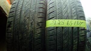 Two pairs of Yokahama 225 65 16 M+S tires.