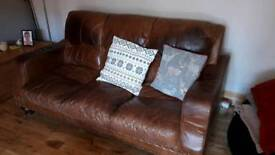 Classic brown leather sofas