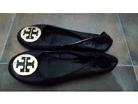 Tory Burch Reva Black Leather Ballet Flats Size 37 eu