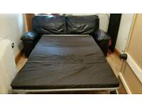 John Lewis Real black Leather Sofa Bed. Was £950 now only £200. *Delivery available*