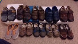 10 pairs of infant boys shoes (9 Clarks), from sizes 3.5 to 5.5