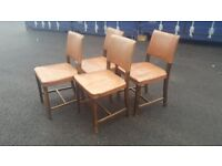 Oak Chairs with studded leatherette seats and backs