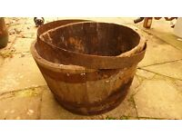 Vintage Solid Oak Half Whisky Barrel Planter Garden Ornament Large