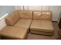 leather sofa made of 3 individual parts