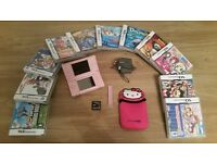 Pink nintendo ds lite console and 49 games bundle