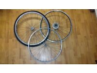 """""""GREAT CONDITION"""" (£30) 3x wheels / 2 front road and 1 rear back road. -set rear wheel"""