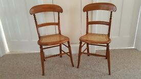 Pair of hall / bedroom chairs with bergere seats