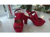 Red platform sandals