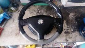 vauxhall astra mk4 / van genuine gsi leather steering wheel !