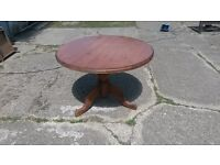 Lovely Farmhouse Pine table with central pedestal.