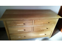 Chest of Drawers walnut effect, 5 x drawers for sale