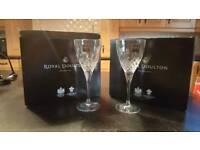 ROYAL DOULTON CRYSTAL WINE GLASS SET X 2