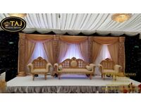 Asian Indian Wedding Mehndi Stages, Decor Flower Wall, Chair Covers, Wedding house Lights, stage