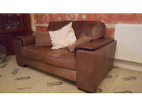 Distressed Brown leather 4 piece suite, 3 seater, 2 seater, armchair and footstool, sofa, settee.