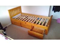 Single waxed pine bed with 3 drawers