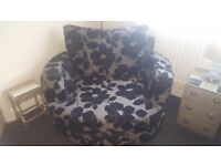 3 piece suite black and silver fabric