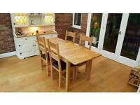 4 seater oak table and chairs