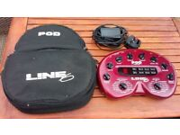 Line 6 Pod and Floorboard and power supply and cases