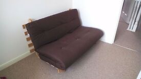 Futon sofa bed with mattress - chocolate