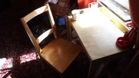 table and chair suitable for a bigger child