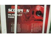 """NEW Red Scorpion Inline Fan 125mm (5"""") 400m³/h"""