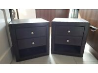 2 brown faux leather bedside tables