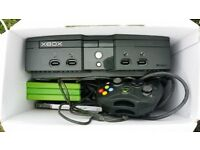 Xbox original with 2 controllers and 4 games