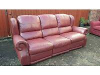 Free Burgandy 3 seater Leather reclining sofa. Delivery available