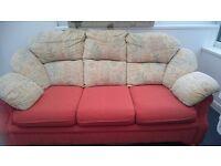 3 Seater Teracotta/cream fabric sofa