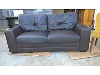 *FREE DELIVERY* Modern Style Brown Leather Sofa ~ Good Cond Large 2 Seater (corner, small 3 Seater)