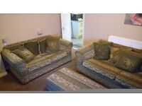 Large three pieces suite and footstool
