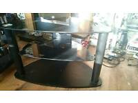 Black glass TV stand small