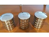 METAL TEA/COFFEE/SUGAR CANISTERS-BARGAIN £2.00