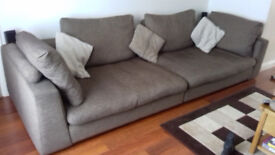 Large Barker and Stonehouse brown sofa and chair