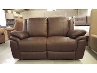 NEW ScS LEO Brown Leather 2 Seater Manual Recliner Sofa (2 Available) **Can Deliver**