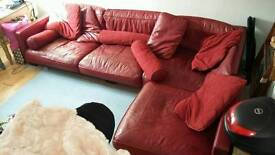 Italian deep red leather five seater sofa