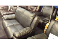 EX-DISPLAY SCS BLACK LEATHER 2 SEATER MANUAL RECLINER + POWER ARMCHAIR RECLINER