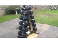 NEW 210KG RUBBER HEX DUMBBELLS SET + RACK 5KG - 30KG 6 PAIR WEIGHTS GYM HEAVY DUTY