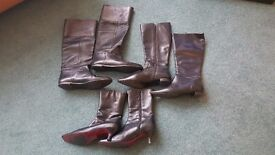 3 pairs of ladies leather boots - as new