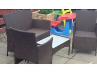 Brown Rattan Outdoor Furniture Set with Cushions