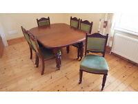 Antique Table and 6 Chairs. 1450mm x 1180mm x 730mm (can be extended/opened.)