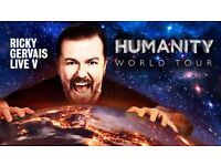 RICKY GERVAIS TICKETS - HAMMERSMITH APOLLO - WEDNESDAY 18th OCTOBER 2017 - FRONT STALLS TICKETS
