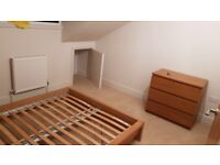 Ikea Malm bed, bedside table, chest of drawers