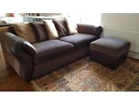 Large Comfy Three Seater Sofa & Ottoman